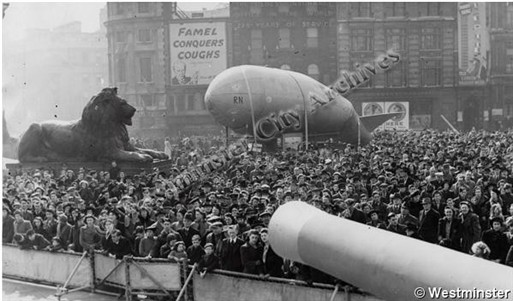 Photo:Trafalgar Square during Warships Week, 23 March 1942