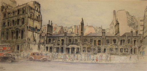 Photo:18th century houses seen through a bombsite in Victoria Street (1947) by RG Mathews