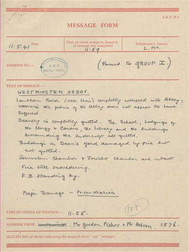 Photo:City of Westminster ARP Message, Westminster Abbey, 11 May 1941