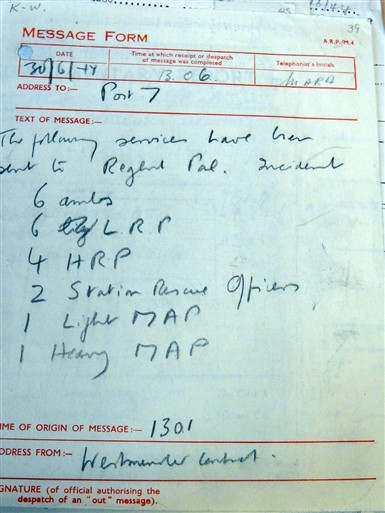 Photo:ARP message form, 30 June 1944