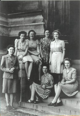 Photo:Enid and her friends at King's (Enid is second from the right in the back row)