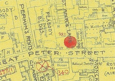 Photo:Bomb Map: Great Peter Street SW1