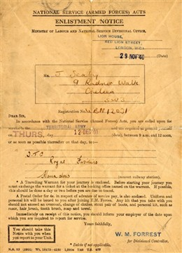 Photo:pte joe Seaby's call up papers from the Royal Fusiliers December 1940