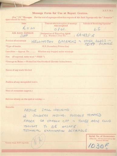Photo:ARP Message Form, Wellington Barracks, November 1940