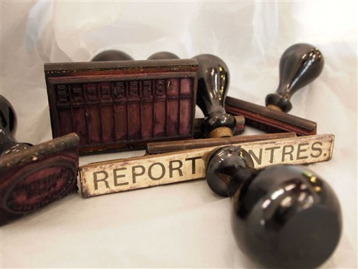 Photo:Rubber stamps used at the Report Centre