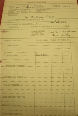Photo:Incident Report, 20 Chesham Place SW1, 27 September 1940