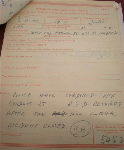 Photo:ARP Message, 37 Conduit Street, 2 October 1940