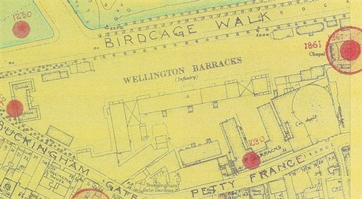 Photo:Bomb Map: Wellington Barracks